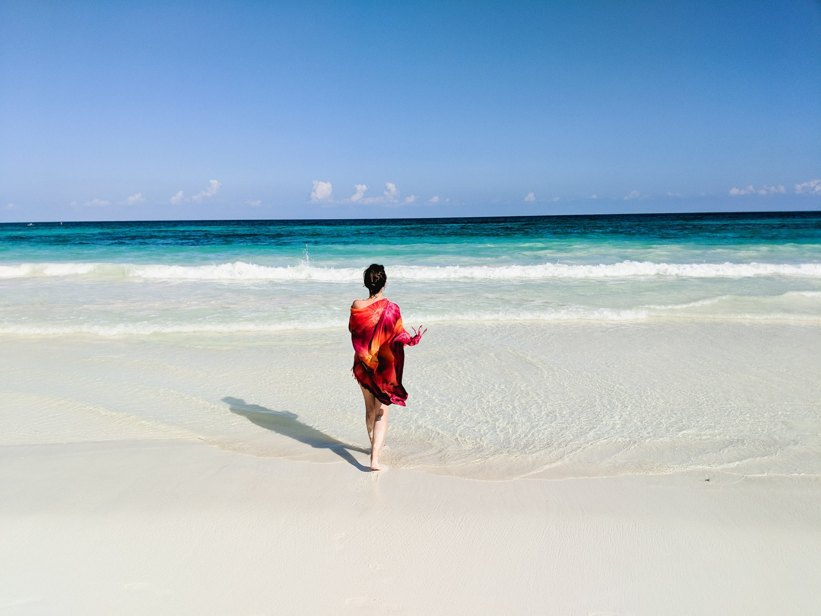 Girl on the beach in Tulum, Mexico