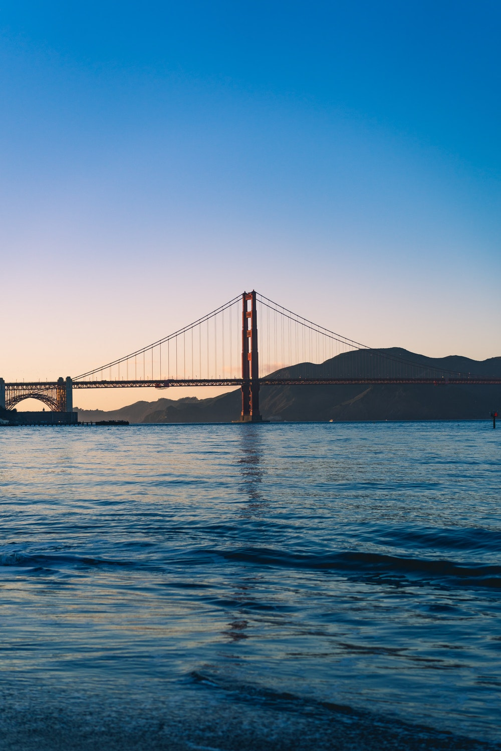 San Francisco is known for the Golden Gate Bridge, one of the city's many icons. Enjoy this golden hour shot of the bridge as the sky turns colors.