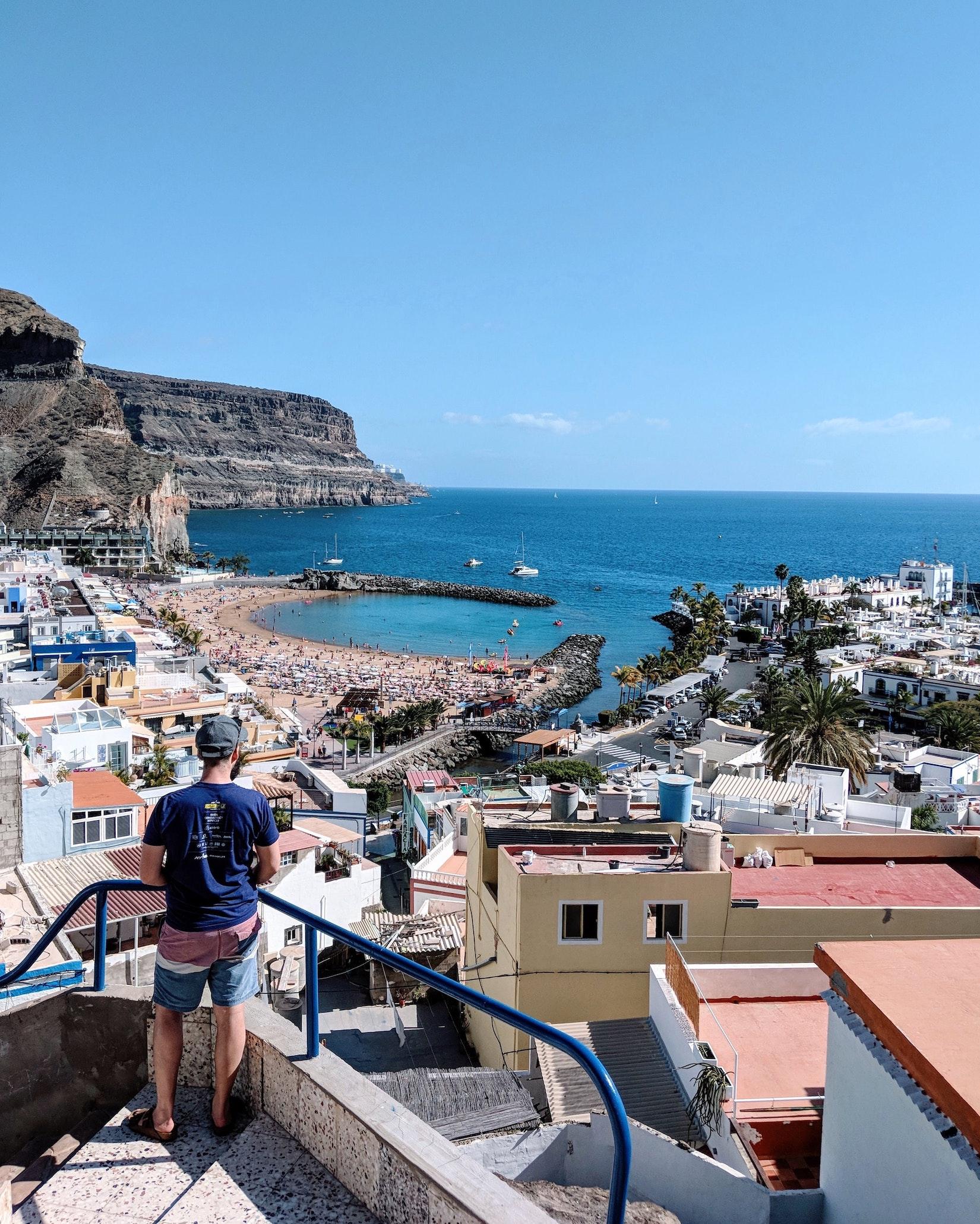 Dan looking at Puerto de Mogan from above