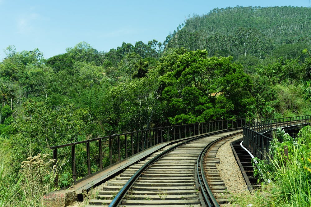 Empty train tracks in Sri Lanka