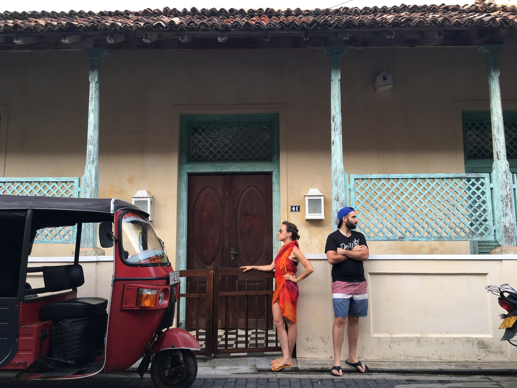 Becca and Dan, a travel couple, inside Galle Fort