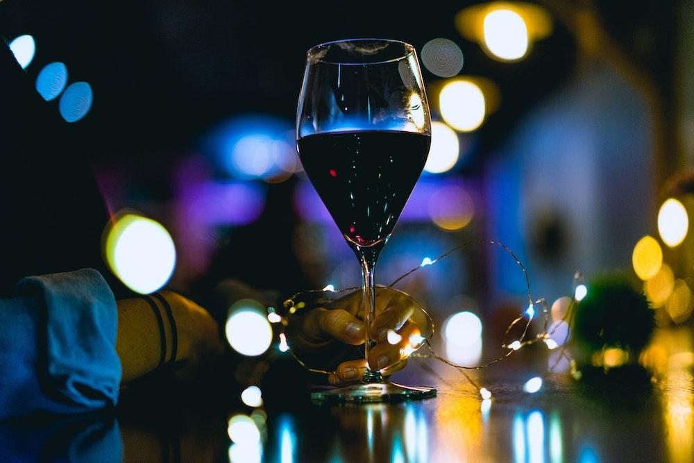 Wine at the bar at Oak Vino in Beacon New York
