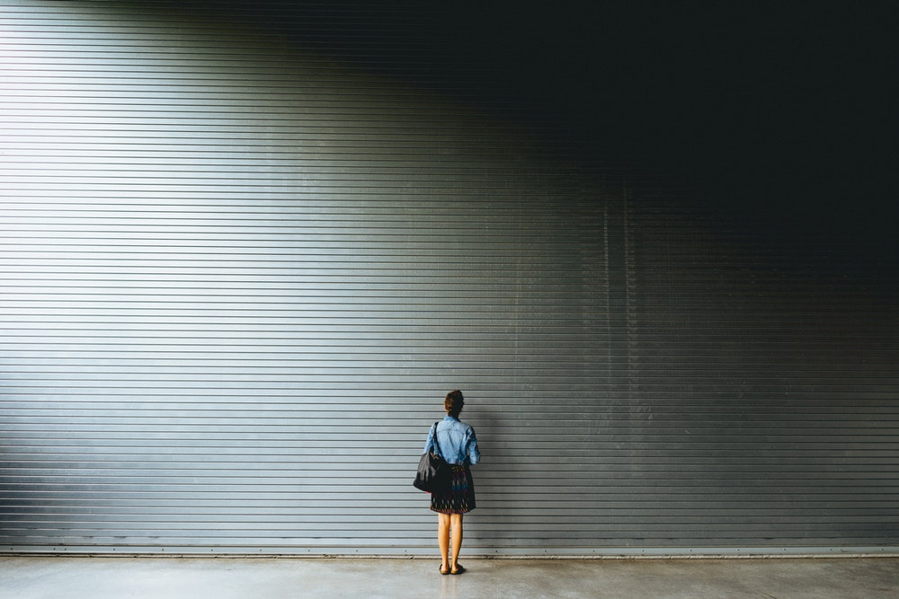 Becca against a wall at Dia:Beacon in Beacon New York