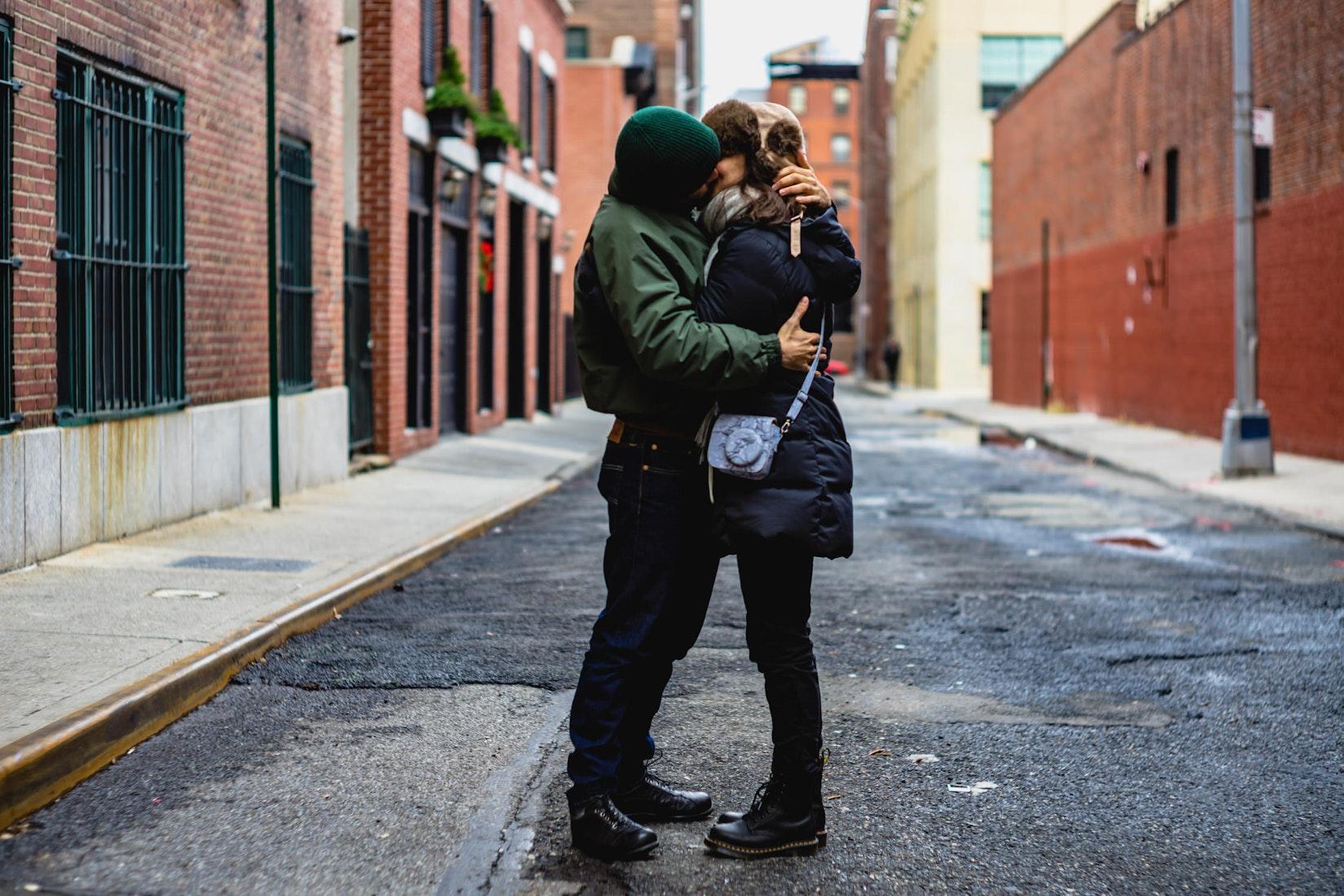 Couple kissing on Love Lane