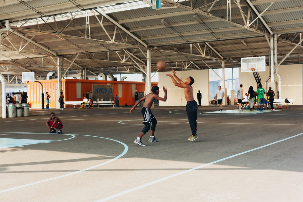 Placeing basketball at the Brooklyn Bridge Park piers